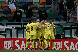 February 14, 2019 - Lisbon, Portugal - Villarreal's defender Alfonso Pedraza celebrates with teammates after scoring during the UEFA Europa League Round of 32 First Leg football match Sporting CP vs Villarreal CF at Alvalade stadium in Lisbon, Portugal on February 14, 2019. (Credit Image: © Pedro Fiuza/ZUMA Wire)
