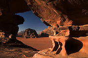 The majestic Wadi Rum, known also as the Valley of the Moon, is a valley cut into the sandstone and granite rock in southern Jordan 60 km (37 mi) to the east of Aqaba