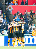 Football - 2016 / 2017 Premier League - Swansea City vs. Hull City<br /> <br /> Hull celebrate their 2nd goal as Sansea fans head for the exits in the background -- at the Liberty Stadium.<br /> <br /> COLORSPORT/WINSTON BYNORTH