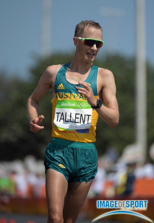 Aug 19, 2016; Rio de Janeiro, Brazil; Jared Tallent (AUS) places second in the 50km race walk in 3:41:16 during the Rio 2016 Summer Olympic Games at Pontal.