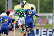 Troy Parrot of Republic of Ireland (10) and Nemanja Nikolic of Bosnia and Herzegovina (13) battle in the air during the UEFA European Under 17 Championship 2018 match between Bosnia and Republic of Ireland at Stadion Bilino Polje, Zenica, Bosnia and Herzegovina on 11 May 2018. Picture by Mick Haynes.
