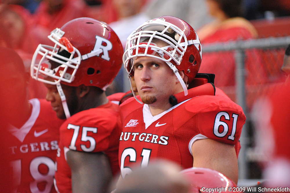 Sep 12, 2009; Piscataway, NJ, USA; Rutgers center Ryan Blaszczyk (61) looks on during the second half of Rutgers' 45-7 victory over Howard in NCAA college football at Rutgers Stadium