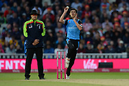 Pat Brown of Worcestershire Rapids bowling during the final of the Vitality T20 Finals Day 2018 match between Worcestershire Rapids and Sussex Sharks at Edgbaston, Birmingham, United Kingdom on 15 September 2018.