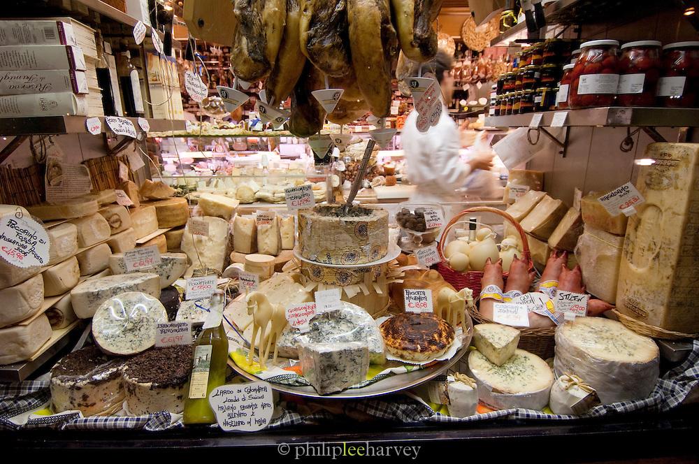 Delicatessen shop window display, Rome, Italy