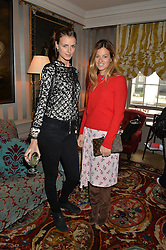 Left to right, JACQUETTA WHEELER and SERENA HOOD at a ladies lunch hosted by Katie Readman for sisters Lucia & Rosie Ruck Keene founders of a new fashion label - Troy, held at 5 Hertford Street, London on 27th January 2015.
