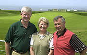 Pictured at the Murphy's Irish Open at Ballybunion were Padraic Liston, with Mr. and Mrs. Tom Harty from Tralee..Picture by Don MacMonagle