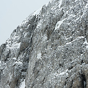 A rocky cliff in the rugged landscape of Livingston Island in the South Shetland Islands in Antarctica.
