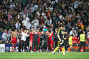 Champions League semi final second leg soccer match between Real Madrid and FC Bayern Munich at the Santiago Bernabeu stadium in Spain <br /> MADRID 25/04/2012<br /> ESTADIO SANTIAGO BERNABEU.<br /> half final, Halbfinale, Semifinale,  CHAMPIONS LEAGUE<br /> REAL MADRID 2 - BAYERN 1<br /> picture: Fc BAYERN celebrando el triunfo. celebration - fee liable image, copyright © ATP QUEEN INTERNACIONAL<br /> <br /> Real MADRID vs Fc BAYERN Match 2:1 und 3:1 im Elfmeterschieflen - and 3:1 in penalty shooting - Queen photographer Fernando ALVAREZ