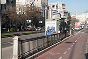 Cycling path and bicycle infrastructure. Photographed in Madrid, Spain