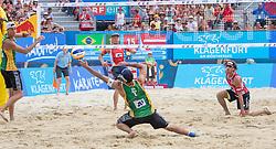 31.07.2016, Strandbad, Klagenfurt, AUT, FIVB World Tour, Beachvolleyball Major Series, Klagenfurt, Herren, im Bild Aleksandrs Samoilovs (1, LAT), Janis Smedins (2, LAT) hinten, Gustavo Carvalhaes (1, BRA), Saymon Barbosa Santos (2, BRA) vorne // during the FIVB World Tour Major Series Tournament at the Strandbad in Klagenfurt, Austria on 2016/07/31. EXPA Pictures © 2016, PhotoCredit: EXPA/ Lisa Steinthaler