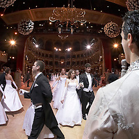 0802020318c Dress rehearsal of the 13th Budapest Opera Ball held at Opera House involving 50 couples of debutantes performing the opening waltz. Budapest, Hungary. Saturday, 02. February 2008. ATTILA VOLGYI