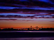 Dawn over the Chesapeake Bay Bridge in Maryland.