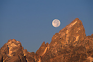 Full moon setting over the summit of the Grand Teton mountain at sunrise, Grand Teton National Park, Wyoming