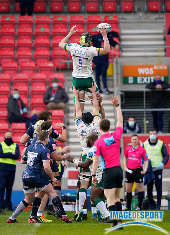London Irish Lock Rob Simmons wins a line-out during a Gallagher Premiership Round 14 Rugby Union match, Sunday, Mar 21, 2021, in Eccles, United Kingdom. (Steve Flynn/Image of Sport)