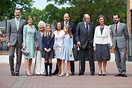 King Felipe VI of Spain, Menchu del Valle, Princess Sofia, Paloma Rocasolano, Crown Princess Leonor, King Juan Carlos of Spain, Queen Sofia of Spain, Konstantin of Bulgary, Jesus Jose Ortiz Alvarez arrived Asuncion de Nuestra Senora Church for the First Communion of Princess Sofia on May 17, 2017 in Aravaca near of Madrid.