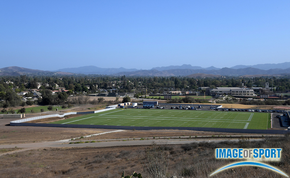 Sep 4, 2016; Thousand Oaks, CA, USA; General view of the Los Angeles Rams temporary training facility at Cal Lutheran university. Rams owner Stan Kroenke (not pictured) is installing two practice fields, a parking lot and temporary modular buildings containing locker room and team offices on the northwest corner of the campus.