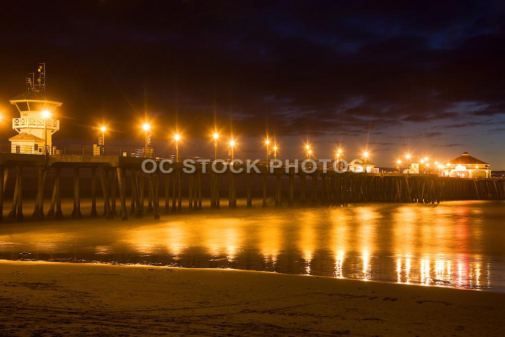 The Huntington Beach Pier At Night, Orange County, California