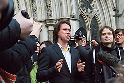London - Alleged computer hacker Lauri Love talks to the media outside the Royal Courts of Justice in London after he successfully challenged a ruling that he can be extradited to the US, following allegations that he hacked United States government websites. February 05 2018.