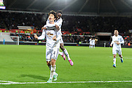 Ki Sung-Yueng of Swansea city celebrates after he scores his teams 1st goal. Barclays Premier league match, Swansea city v Queens Park Rangers at the Liberty stadium in Swansea, South Wales on Tuesday 2nd December 2014<br /> pic by Andrew Orchard, Andrew Orchard sports photography.