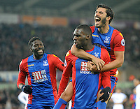 CELE - Crystal Palace's Christian Benteke celebrates scoring his sides fourth goal with team mate James Tomkins<br /> <br /> Photographer Ashley Crowden/CameraSport<br /> <br /> The Premier League - Swansea City v Crystal Palace - Saturday 26th November 2016 - Liberty Stadium - Swansea <br /> <br /> World Copyright © 2016 CameraSport. All rights reserved. 43 Linden Ave. Countesthorpe. Leicester. England. LE8 5PG - Tel: +44 (0) 116 277 4147 - admin@camerasport.com - www.camerasport.com