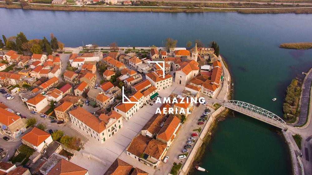 Aerial view of the city of Opuzen in Neretva valley in Dalmatia, Croatia.