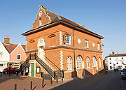 The Shire Hall and Corn Exchange building, Market Hill, Woodbridge, Suffolk, England, UK c 1675
