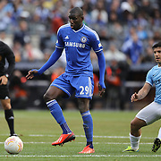 Demba Ba, Chelsea, (left) and Sergio Aguero, Manchester City, in action during the Manchester City V Chelsea friendly exhibition match at Yankee Stadium, The Bronx, New York. Manchester City won the match 5-3. New York. USA. 25th May 2012. Photo Tim Clayton
