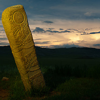 MONGOLIA. 2700+ year-old, bronze age Deer Stone at Ulaan Tolgai site near Lake Erkhel & Muren.