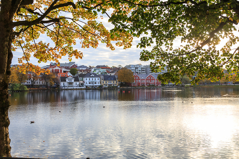 The Breiavatnet lake in Stavanger, Norway.