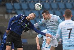 Martin Koch Helsted (HB Køge) og Nikolaj S. Hansen (FC Helsingør) under træningskampen mellem FC Helsingør og HB Køge den 22. februar 2020 på Helsingør Ny Stadion (Foto: Claus Birch).