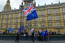 © Licensed to London News Pictures. 18/03/2019. LONDON, UK. Remain protesters outside the Houses of Parliament.  Theresa May, Prime Minister, is considering requesting the European Union for a long delay to article 50 if she determines that MPs will reject her Brexit deal in a meaningful vote for a third time..  Photo credit: Stephen Chung/LNP