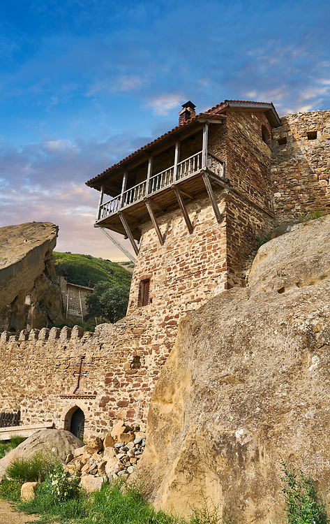 Picture & image of David Gareja Georgian Orthodox monastery, Mount Gareja, Kakheti Region, Georgia (country). 25 km (15 miles) from Gardabani<br /> <br /> Founded in the 6th century by David (St. David Garejeli), one of the  thirteen Assyrian monks who built monasteries throughout Georgia. The 24 plus monasteries of David Gareja are spread out over a huge area of the arid Mount Gareja ridge, with small cells and chapels cut into cliff faces. .<br /> <br /> Visit our MEDIEVAL PHOTO COLLECTIONS for more   photos  to download or buy as prints https://funkystock.photoshelter.com/gallery-collection/Medieval-Middle-Ages-Historic-Places-Arcaeological-Sites-Pictures-Images-of/C0000B5ZA54_WD0s<br /> <br /> Visit our REPUBLIC of GEORGIA HISTORIC PLACES PHOTO COLLECTIONS for more photos to browse, download or buy as wall art prints https://funkystock.photoshelter.com/gallery-collection/Pictures-Images-of-Georgia-Country-Historic-Landmark-Places-Museum-Antiquities/C0000c1oD9eVkh9c