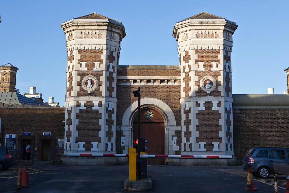 The Victorian front gates of HMP Wormwood Scrubs