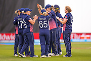 India womens cricket Smriti Mandhana is out caught by England womens cricket Danielle Hazell  off the bowling of England womens cricket Heather Knight (capt) for 90  during the ICC Women's World Cup match between England and India at the 3aaa County Ground, Derby, United Kingdom on 24 June 2017. Photo by Simon Davies.