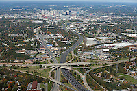 Aerial photo of the Nashville Skyline showing I-65, I-440 and Franklin Road in the foreground.