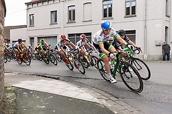 Sarah Roy sets the pace as the race weaves through town but Giorgia Bronzini is staying on her shoulder - Grand Prix de Dottignies 2016. A 117km road race starting and finishing in Dottignies, Belgium on April 4th 2016.