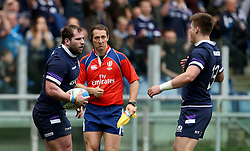 Scotland's Fraser Brown (left) celebrates scoring his side's first try during the NatWest 6 Nations match at the Stadio Olimpico, Rome.