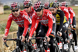 December 15, 2017 - Majorca, SPAIN - Belgian Maxime Monfort of Lotto Soudal and Britain's James Callum Shaw of Lotto Souda pictured in action during a press day during Lotto-Soudal cycling team stage in Mallorca, Spain, ahead of the new cycling season, Friday 15 December 2017. BELGA PHOTO DIRK WAEM (Credit Image: © Dirk Waem/Belga via ZUMA Press)