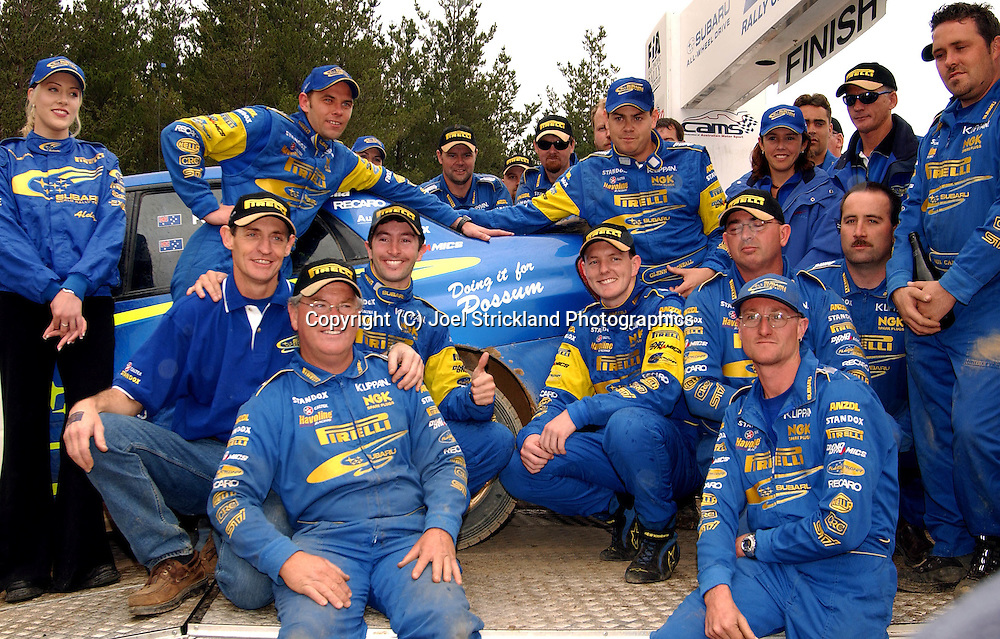 Subaru Australia Rally Team & Cody Crockers car, with support messages for injured Team mate Possum Bourne .Motorsport-Rally/2003 Rally of Canberra .Canberra, ACT, Australia.Day 3 - 27th of April 2003.(C) Joel Strickland Photographics