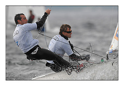 470 Class European Championships Largs - Day 1.Racing in grey and variable conditions on the Clyde...GER75, Denny NAUJOCK, Nils SCHRODER