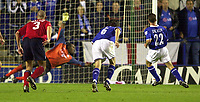 Photo: Richard Lane.<br />Leicester City v Crewe Alexandra. Carling Cup. 23/09/2003.<br />Paul Dickov slots the ball past Clayton Ince for a goal from the penalty spot.