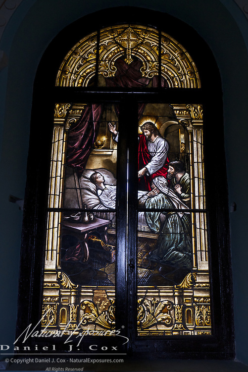 Stained glass window in the church of the Christopher Columbus Cemetery, Havana, Cuba.