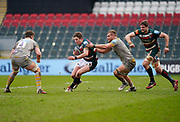 Leicester Tigers full-back Freddie Steward breaks between Wasps Back row Tom Willis and Lock Will Rowlands during a Gallagher Premiership Round 10 Rugby Union match, Friday, Feb. 20, 2021, in Leicester, United Kingdom. (Steve Flynn/Image of Sport)