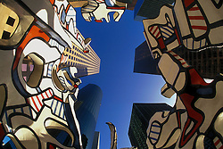 """Stock photo of Jean Dubuffet sculpture """"Monument to the Phantom"""" in downtown Houston"""