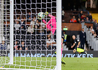 Football - 2018 / 2019 EFL Carabao Cup (League) Cup - Fulham vs. Exeter City<br /> <br /> Christy Pym (Exeter FC) with fingertips pushes the free kick from Stefan Johansen (Fulham FC) onto the post at Craven Cottage.<br /> <br /> COLORSPORT/DANIEL BEARHAM