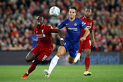 Liverpool's Sadio Mane and Chelsea's Cesar Azpilicueta battle for the ball during the Carabao Cup, Third Round match at Anfield, Liverpool.
