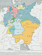 Map of The German Confederation 1815-1866 (Deutscher Bund). The dominant states are Austria (yellow) and  Prussia (blue).