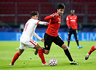Clement Grenier of Stade Rennais, Oliver Torres of Sevilla FC (left) during the UEFA Champions League, Group E football match between Stade Rennais and Sevilla FC (FC Seville) on December 8, 2020 at Roazhon Park in Rennes, France - Photo Jean Catuffe / ProSportsImages / DPPI