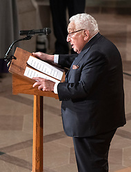 Former United States Secretary of State Henry Kissinger speaks at the funeral service for the late US Senator John S. McCain, III (Republican of Arizona) at the Washington National Cathedral in Washington, DC, USA on Saturday, September 1, 2018. Photo by Ron Sachs/CNP/ABACAPRESS.COM