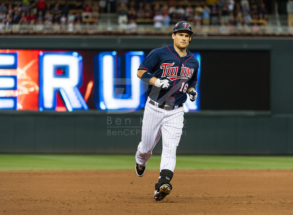 Minnesota Twins left fielder Josh Willingham rounds the bases after hitting his 1st of 2 home runs against the Oakland Athletics on July 13, 2012 at Target Field in Minneapolis, Minnesota.  The Athletics defeated the Twins 6 to 3.  © 2012 Ben Krause